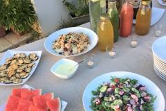 Riso basmati saltato con verdure, estratti, acqua aromatizzata, frutta, anguria